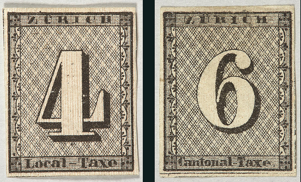 two old stamps with 4 and 6 written on them