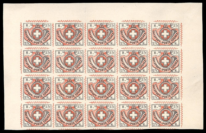 old stamp with red and white design and a Swiss flag on it