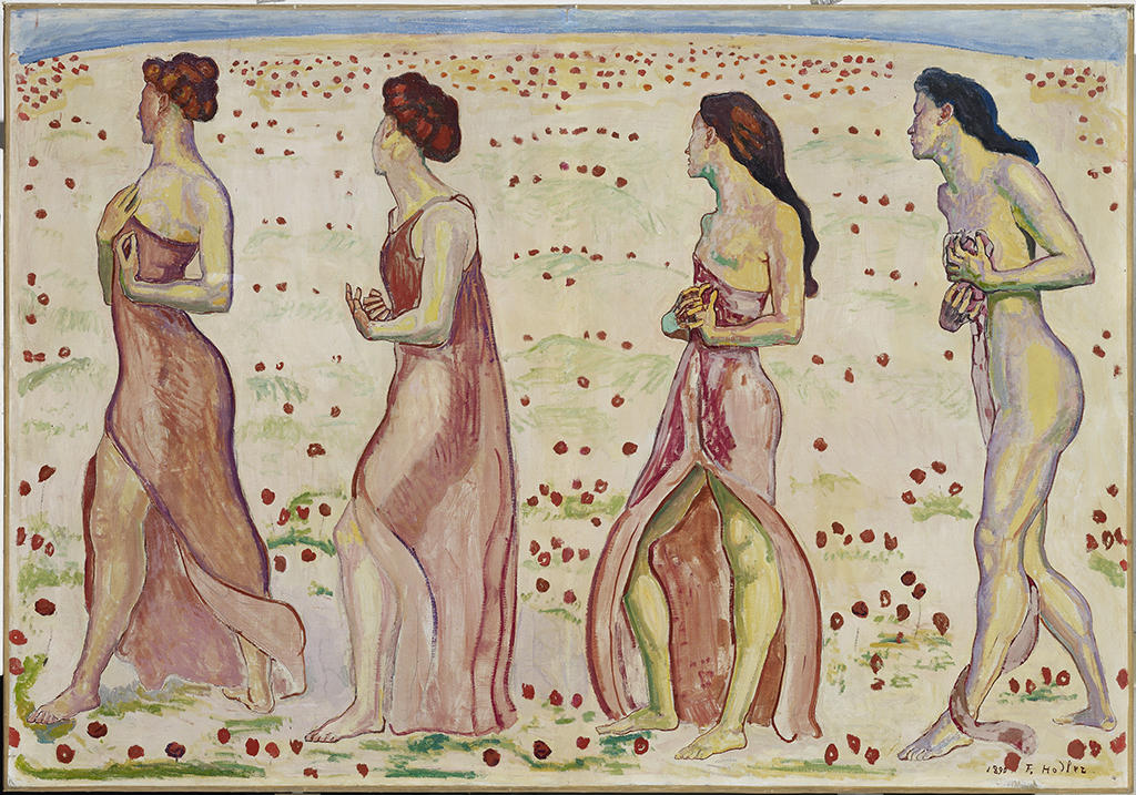 portrait of 4 female figures walking towards the left with heads turned