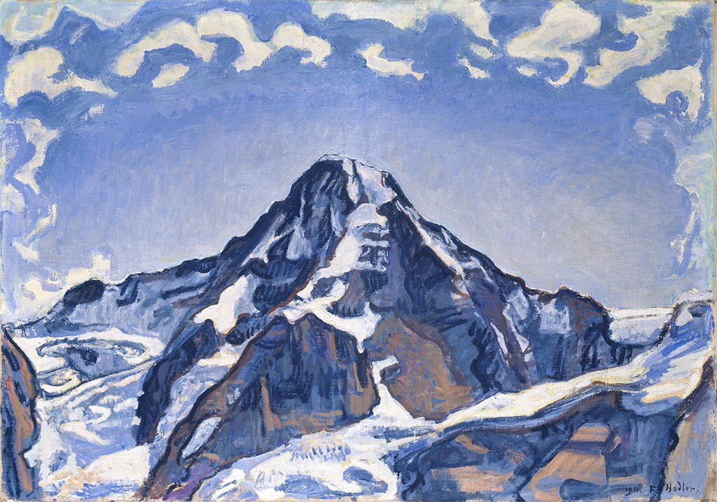 Image of a painting of a mountain in blue and white