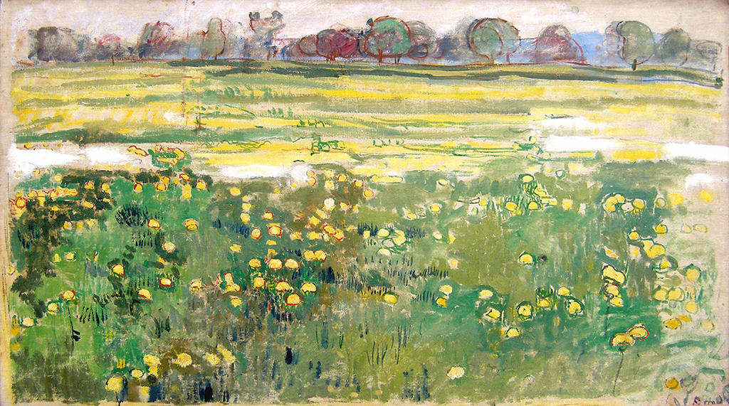 image of a painting of a green and yellow field