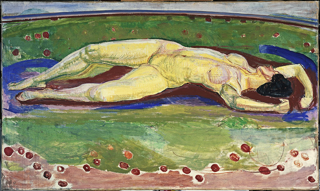 image of a naked woman lying upon a background of blue and green colour