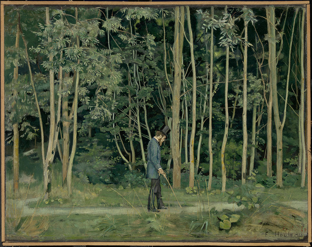 A painted forest scence in green with a man in the foreground with walking stick