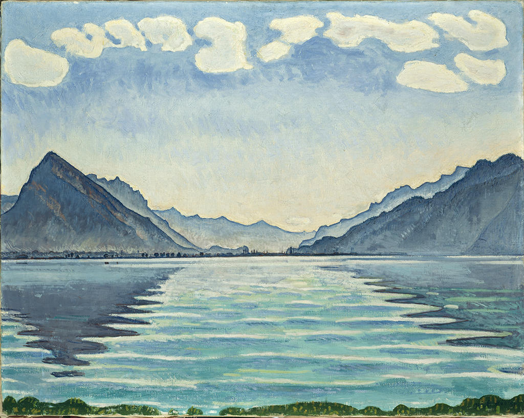 image of a painting of a lake and mountains
