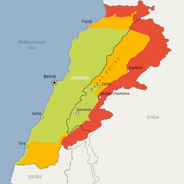 Karte des Libanon mit grüner, gelber und roter Sicherheitszone