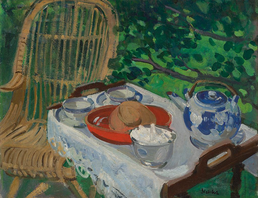 A painting depicting a zable with food and a teapot upon it and a wicker chair.