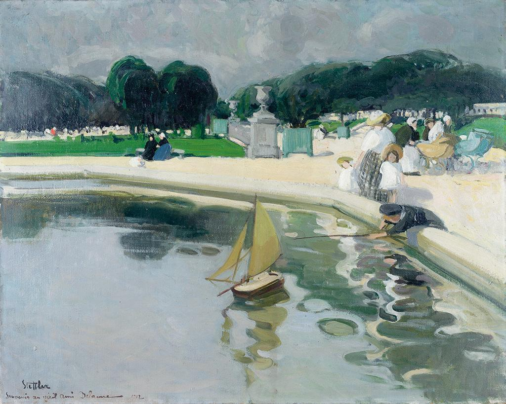 Painting of a Park area. In the foreground a toy ship floating upon the surface of a pond and a young child