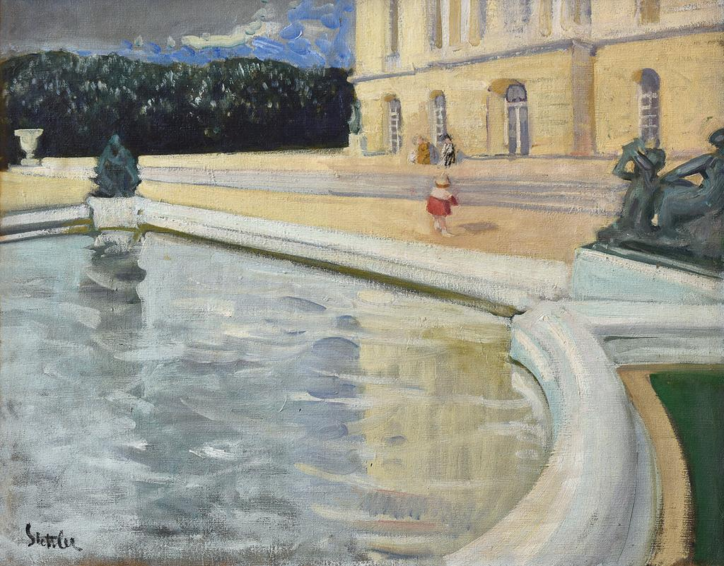 Painting of a pond in the foreground and child in front of a building.