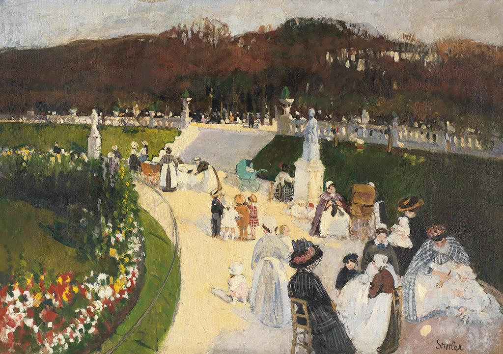 Painting of women and children at a park.