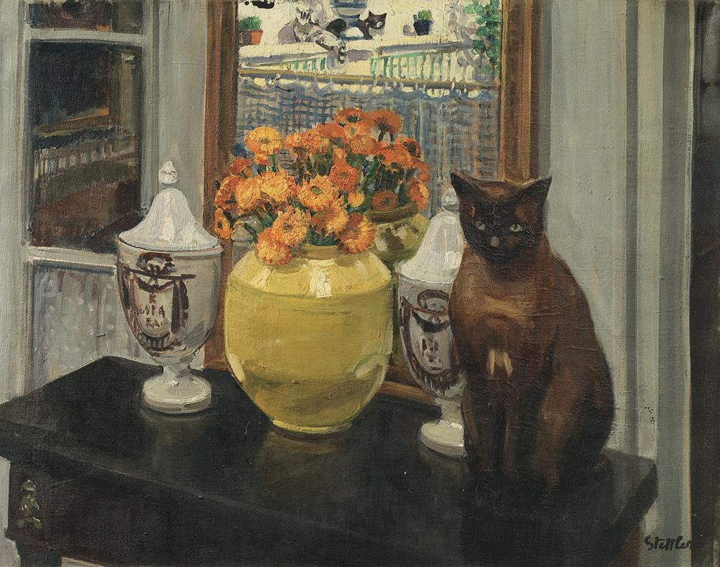 Painting of a cat sitting upon a table next to a vase of flowers.