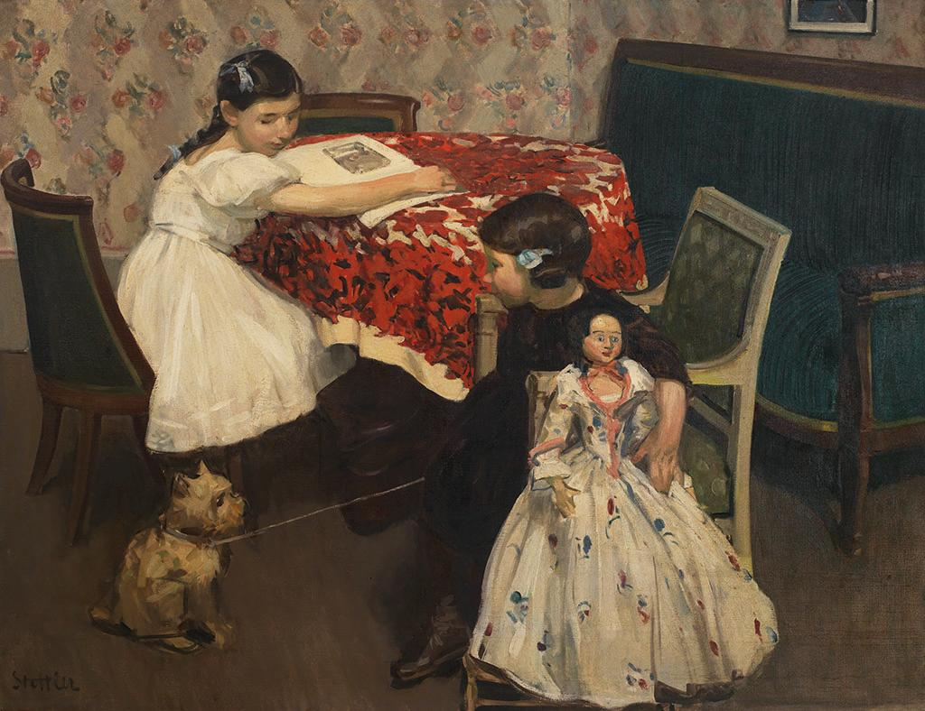 Painting depicting two young girls sitting at a table with a dog on a line.