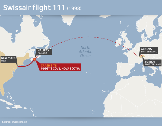 Map showing the flight route and crash site