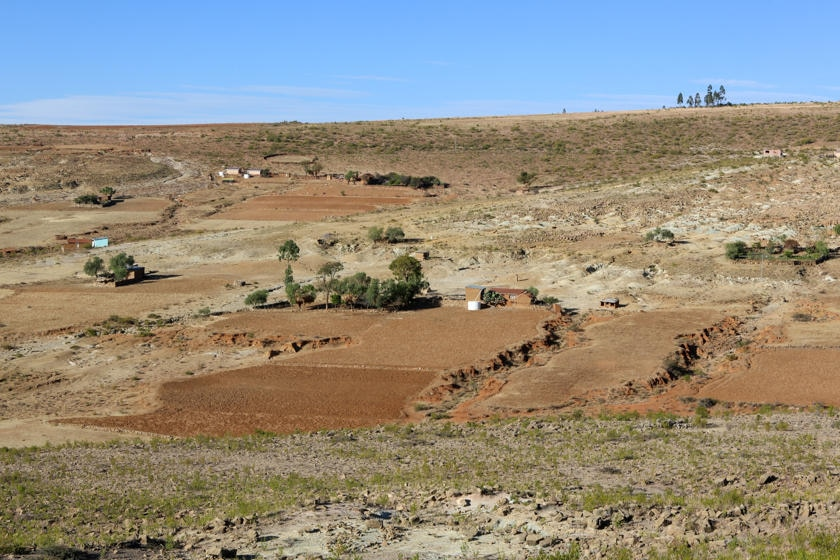 Dry landscape with few trees