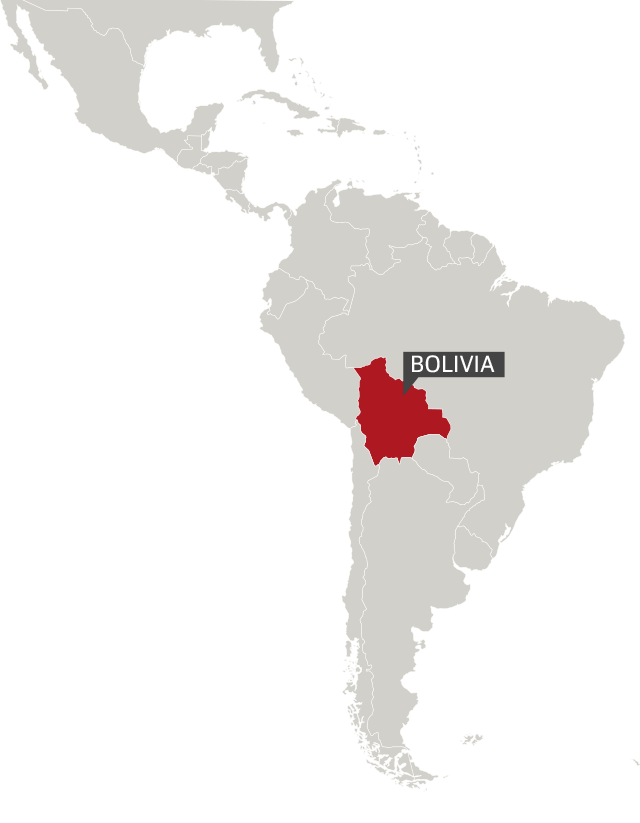 Bolivia highlighted in a map of South America