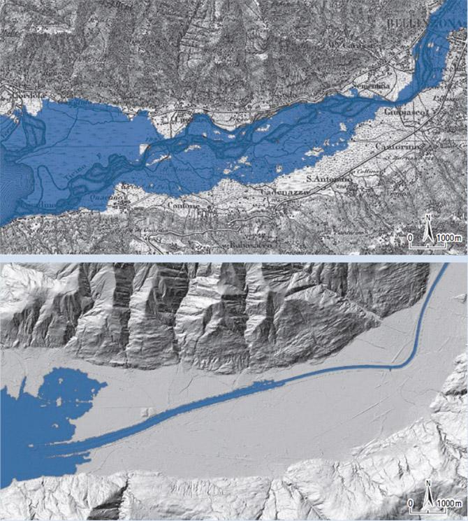 Vergleich der Überschwemmungsgebiete 1868 und heute