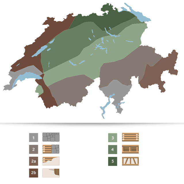 Graphic drawing of a map of Switzerland and building materials.