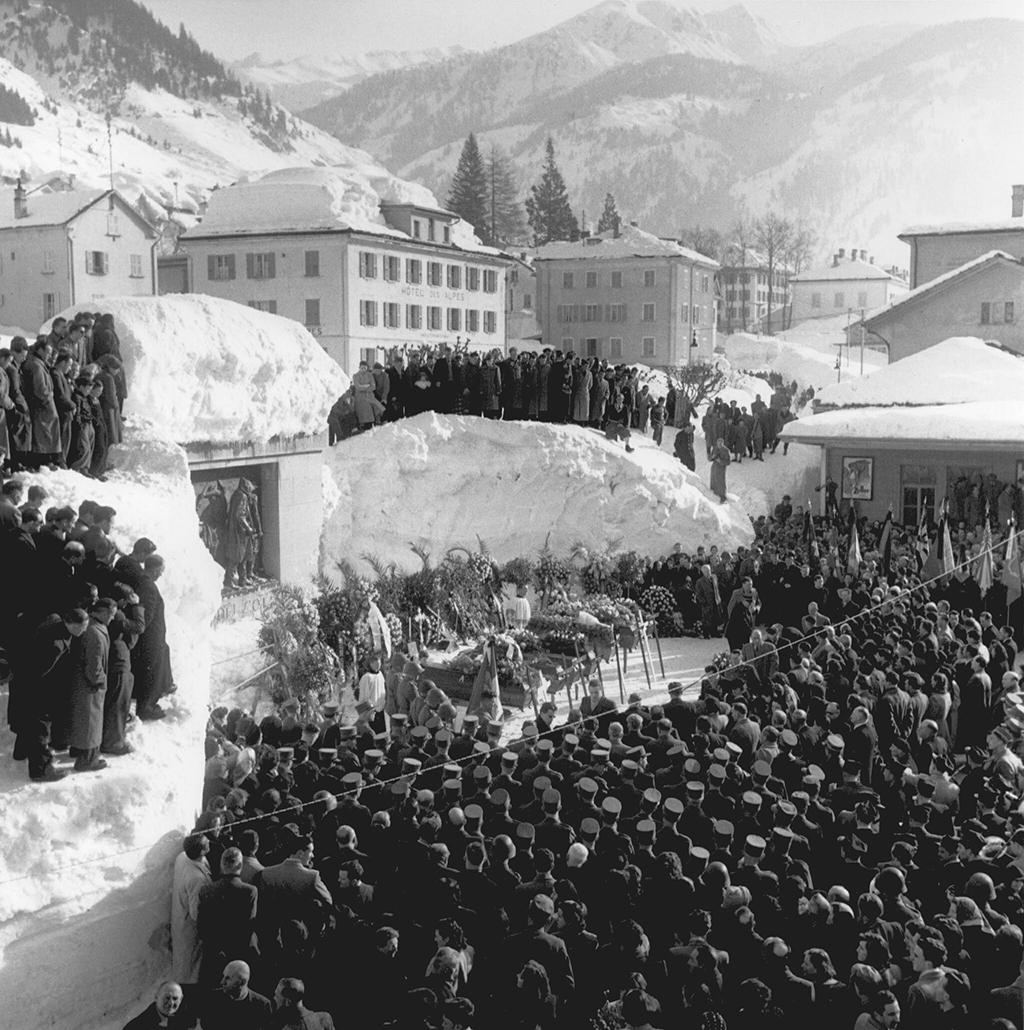 The funeral of 10 people who died in the avalanche at Airolo.