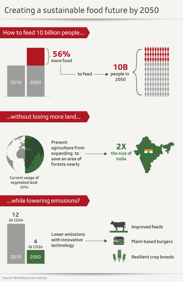 Graphic on creating a sustainable food future by 2050