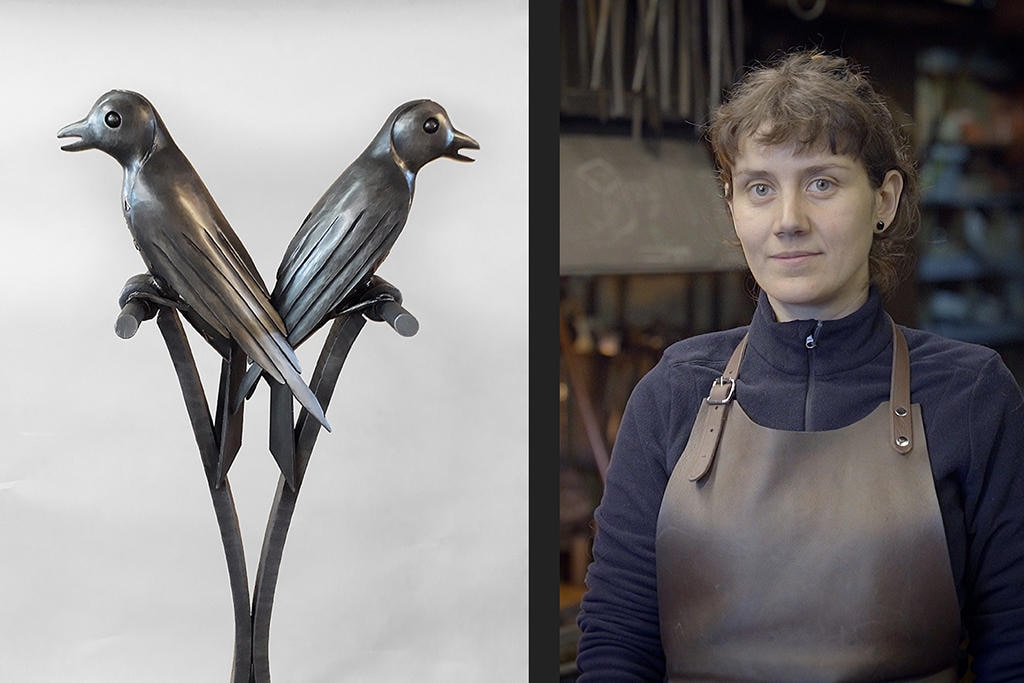 Montage: two figures of birds on a perch, right: portrait of Bertille Laguet