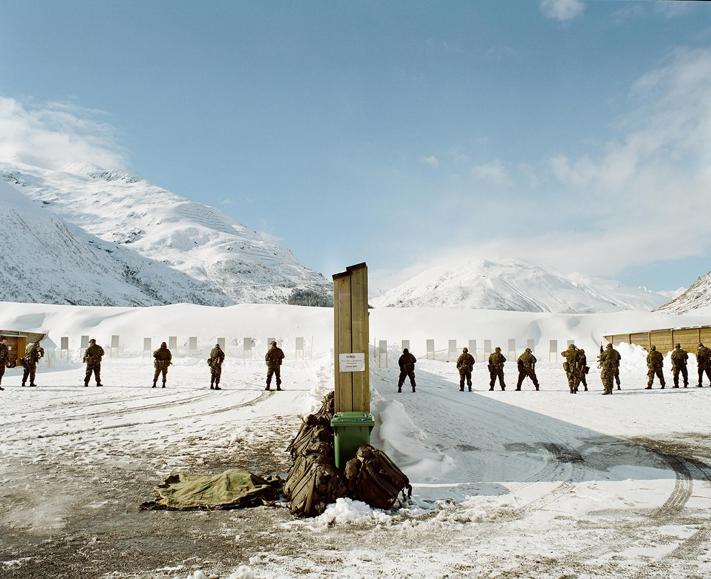 A military shooting range in the snow.