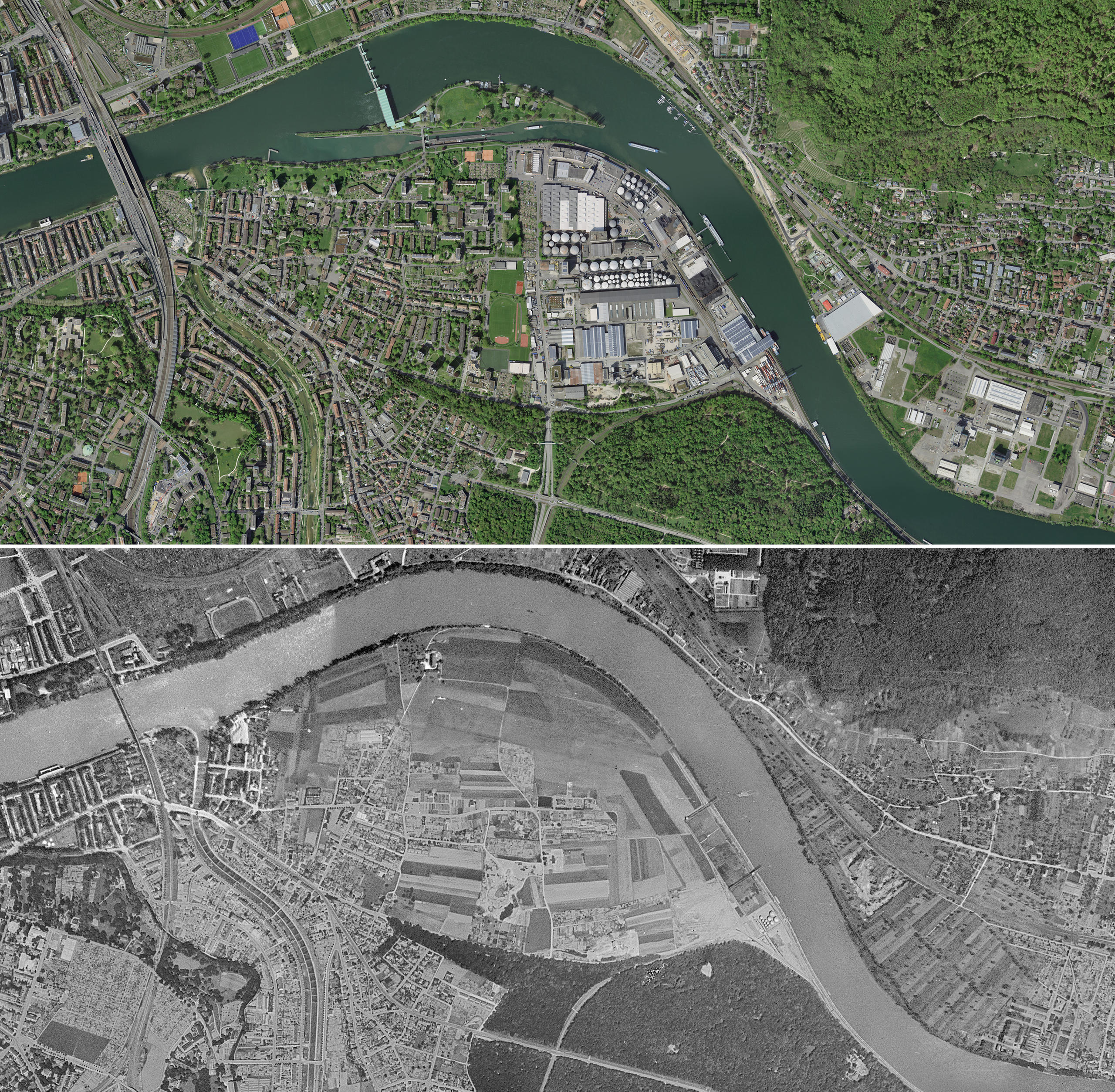 Aerial view of Birsfelden above in  2018  and below in 1946
