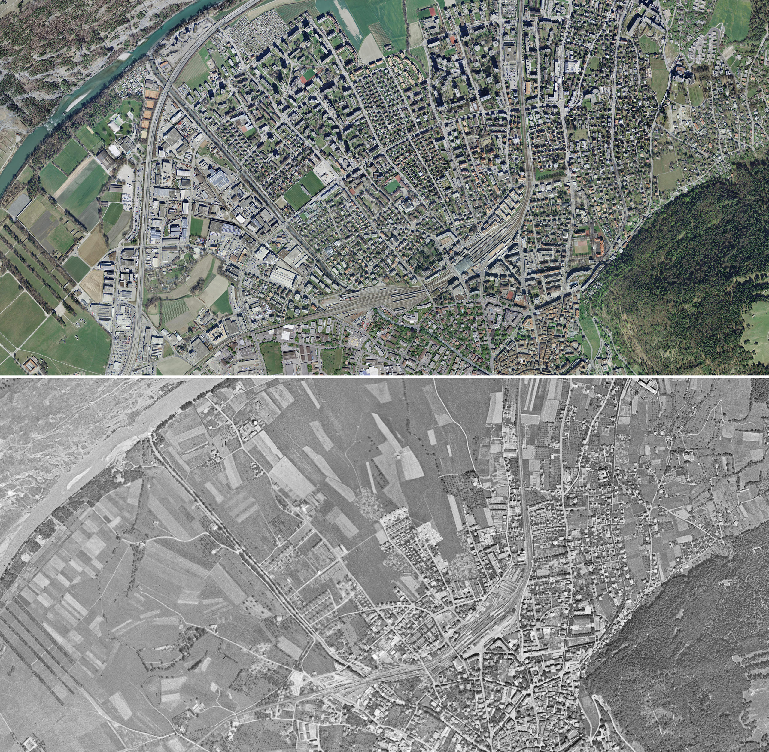 Aerial view of  Chur above in  2014  and below in 1946