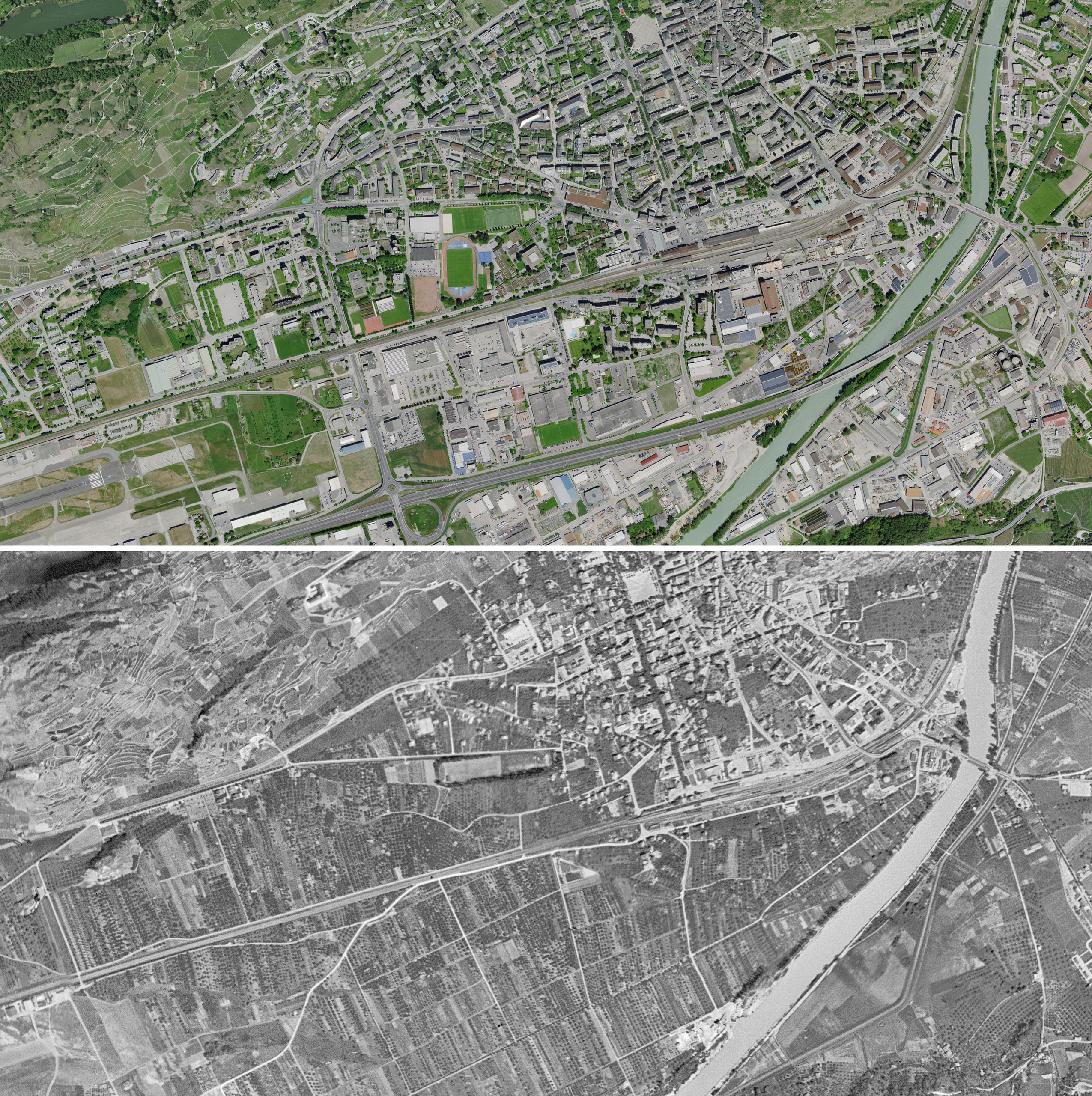 Aerial view of Sion above in  2017  and below in 1946