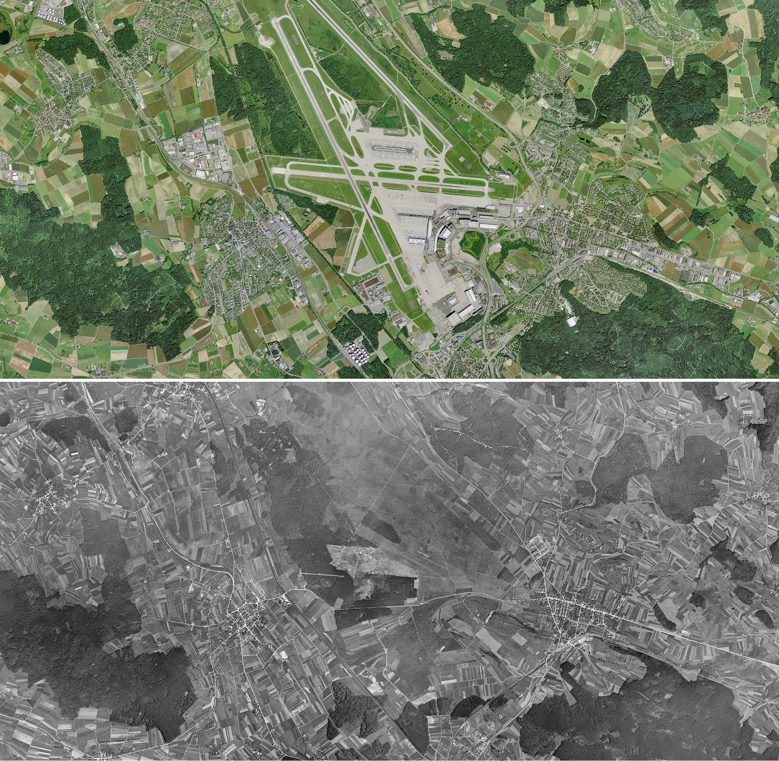 Aerial view of Kloten above in  2016  and below in 1946
