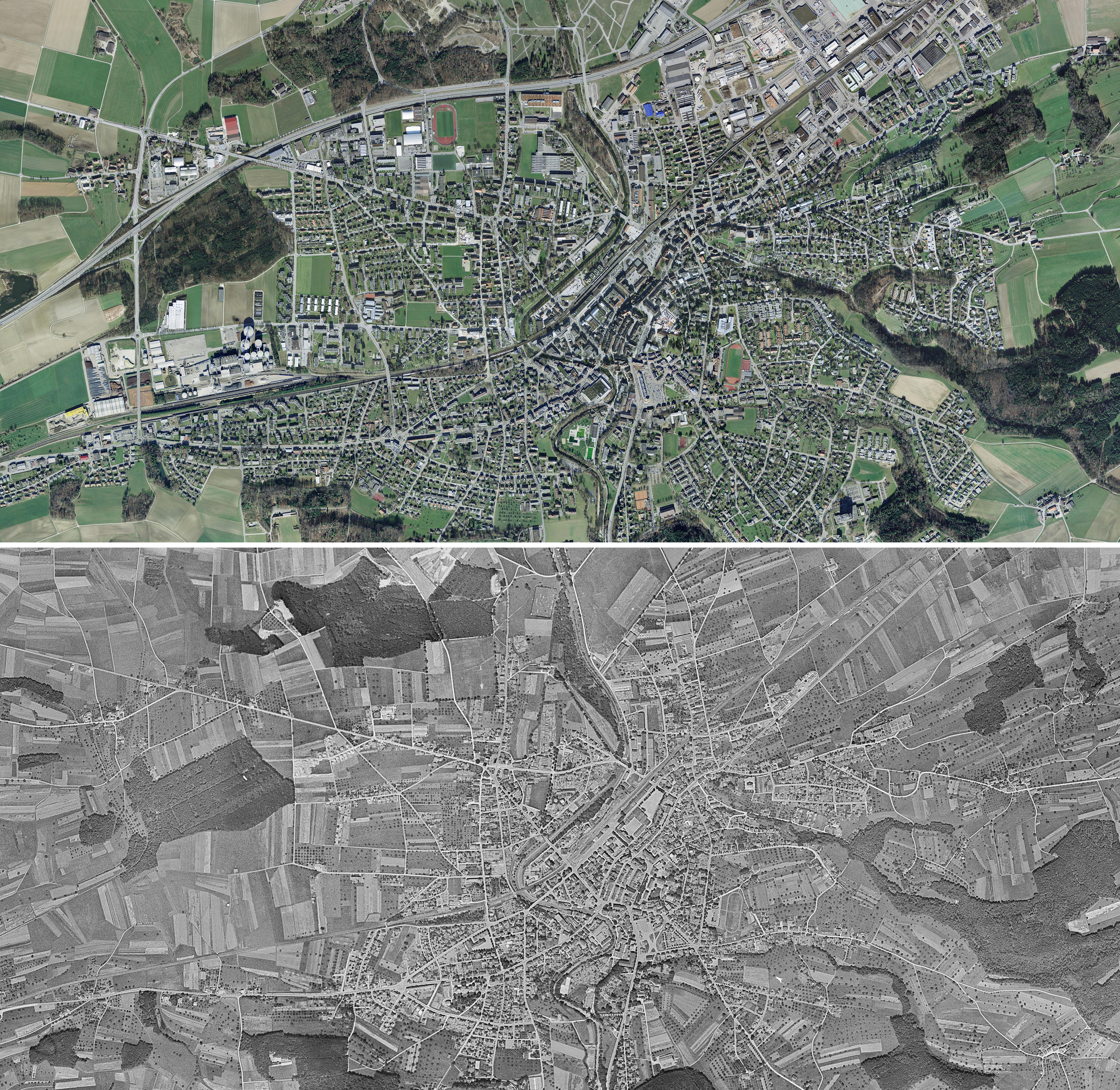 Aerial view of Frauenfeld above 2014 and below in 1946