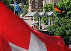 The Swiss flag flying at Rheinfelden on the border with Germany