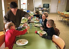 Under the day-school system, children are able to stay for lunch