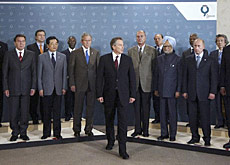 Tony Blair (centre) surrounded by G8 leaders and heads of developing countries