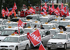 Taxi drivers on strike at Zurich airport