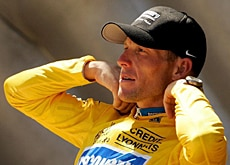 Lance Armstrong and the yellow jersey are never far apart from each other