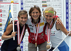 Niggli-Luder (centre) with silver and bronze medallists Johansson and Lauppi