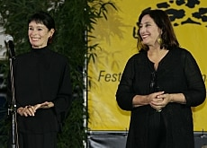 Irene Bignardi (right) joined actress Geraldine Chaplin on stage on Saturday night (Fotofestival/Pedrazzini)