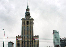 The Stalinist Palace of Culture and Science now has to share the skyline with western-style skyscrapers