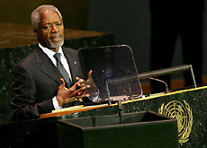 Kofi Annan has been overseeing in New York the biggest ever gathering of world leaders