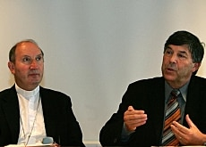 "Bishop Pierre Bürcher (left) and Pastor Thomas Wipf are urging a ""no"" vote in November"
