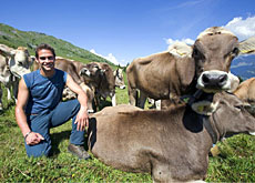 Mr Switzerland, Renzo Blumenthal, helps out on his parents' organic farm