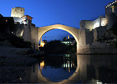 The Old Bridge in Mostar, Bosnia, has been reconstructed as a symbol of reconciliation