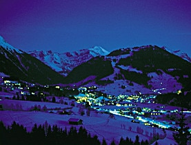 The resort Gstaad by night