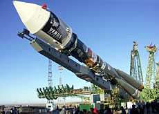 The Soyuz-FG rocket at the cosmodrome at Baikonur carrying the Venus Express