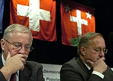 Blocher (left) and Schmid in pensive mood at the conference