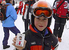 One skier from Sattel shows off his ski pass
