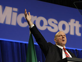 Microsoft CEO Steve Ballmer is reaching for the sky