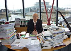 Luzius Wildhaber, president of the European Court of Human Rights, has his work piled high in Strasbourg