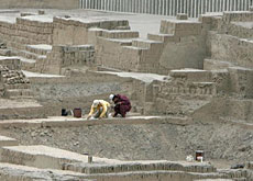 Archaeologists working in the Pucllana Huaca park in Lima