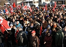 More than 10,000 people took part in a demonstration last month to protest against the Swissmetal closure