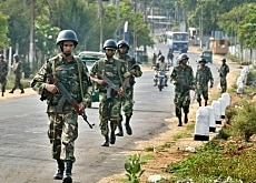 Sri Lankan soldiers patrol the northeastern town of Trincomalee